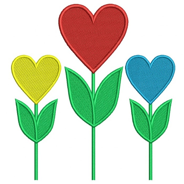 Tulip Hearts Flower Filled Machine Embroidery Design Digitized Pattern