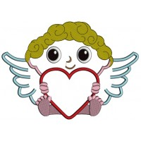 Angel With Big Heart Applique Machine Embroidery Design Digitized Pattern