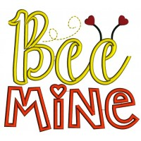 Bee Mine With Hearts Applique Machine Embroidery Design Digitized Pattern