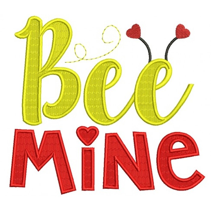 Bee Mine With Hearts Filled Machine Embroidery Design Digitized Pattern