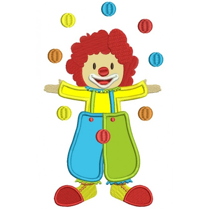 Circus Clown Juggling Balls Applique Machine Embroidery Digitized Design Pattern