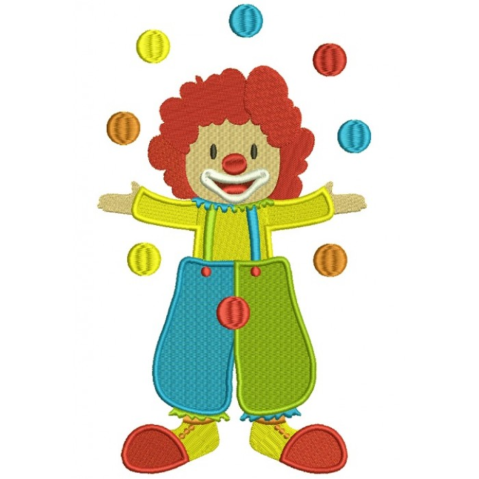Circus Clown Juggling Balls Filled Machine Embroidery Digitized Design Pattern