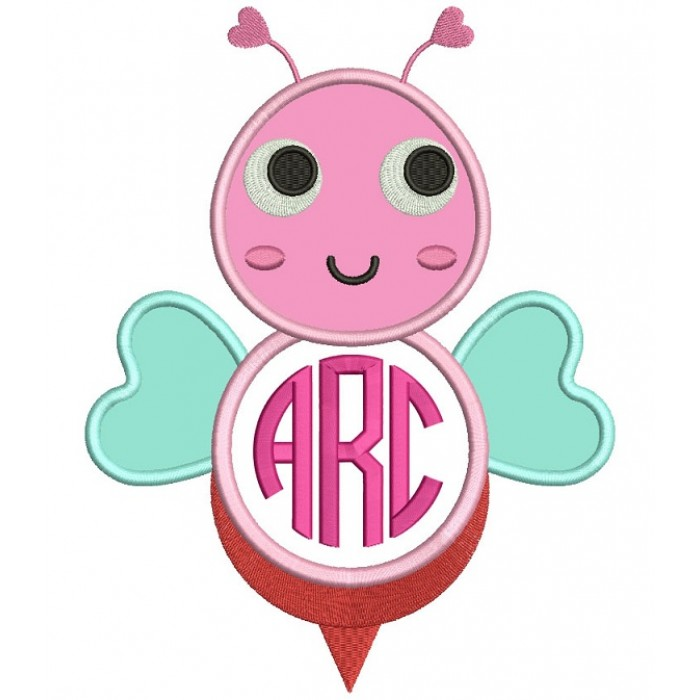 Cute Monogram Bee Applique Machine Embroidery Design Digitized Pattern