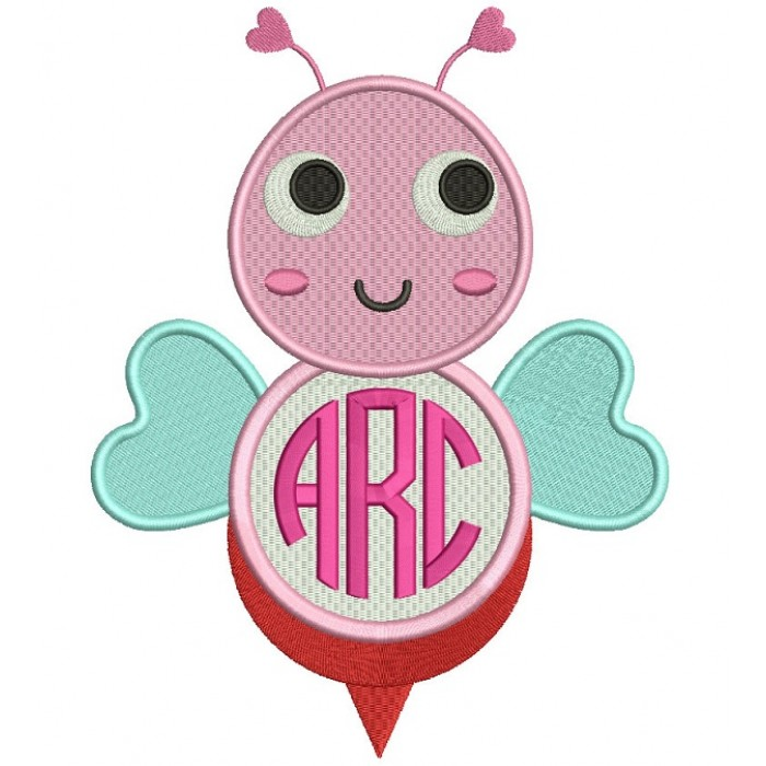 Cute Monogram Bee Filled Machine Embroidery Design Digitized Pattern