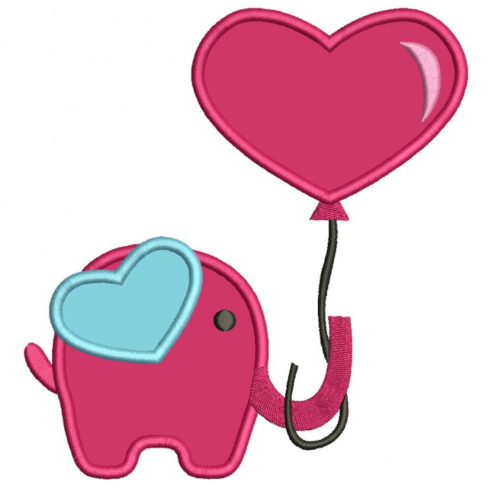 Elephant With Balloon Heart Applique Machine Embroidery Design Digitized Pattern