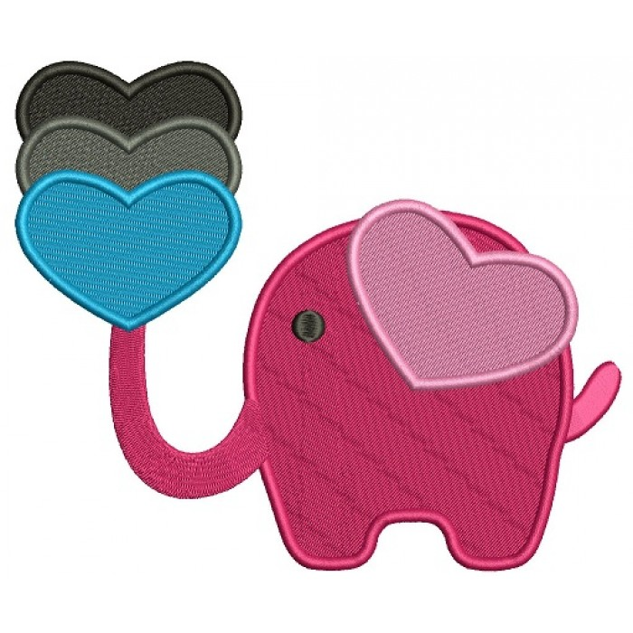 Elephant With Three Hearts Filled Machine Embroidery Design Digitized Pattern