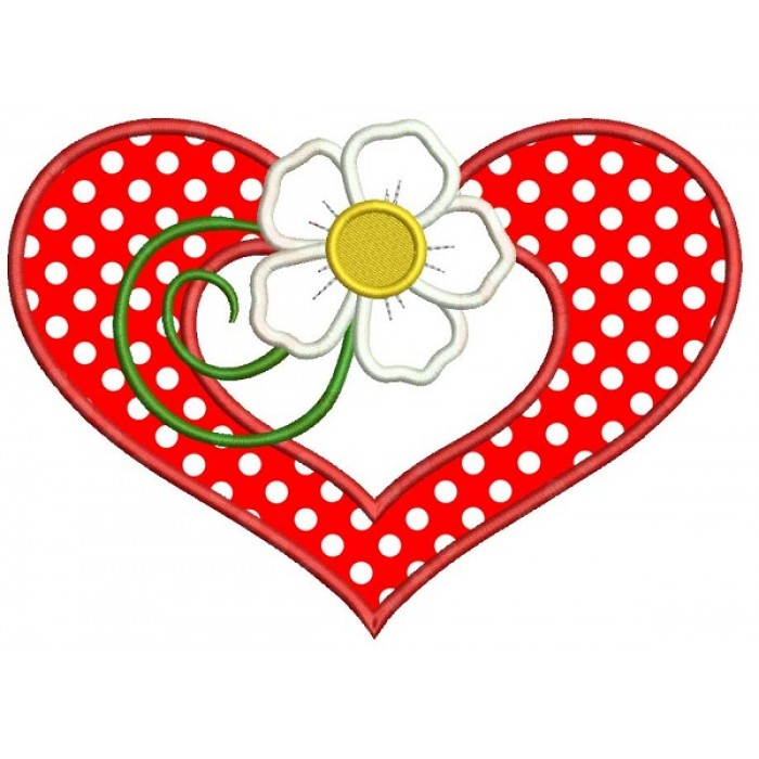 Flower and a Heart Applique Machine Embroidery Design Digitized Pattern