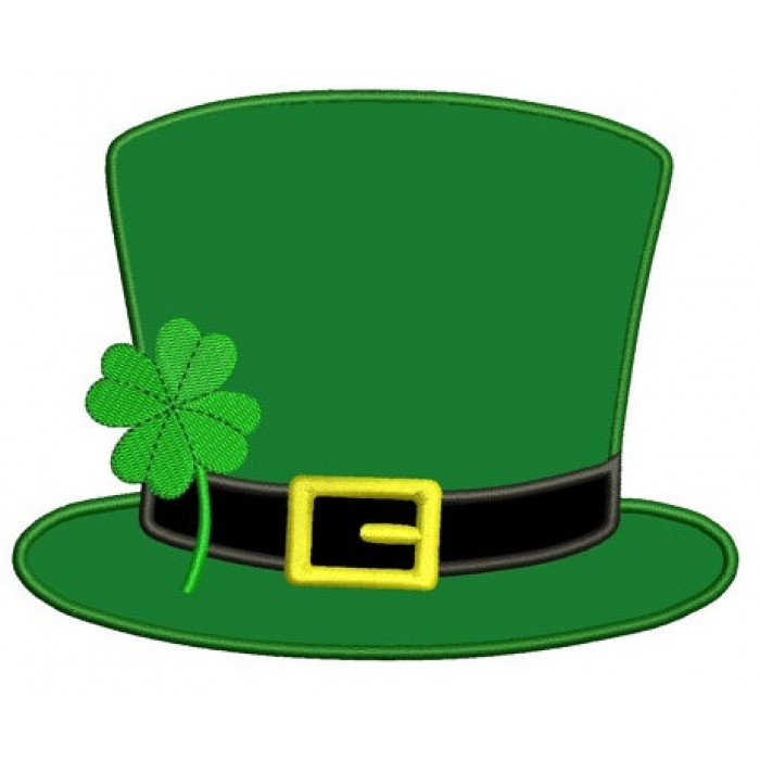 irish hat shamrock applique st patrick s day machine digitized