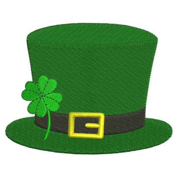 Irish Hat Shamrock - St Patrick's Day- Machine Digitized Design Filled Pattern - Instant Download - 4x4 , 5x7, and 6x10 -hoops