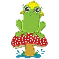 Little Frog on a Mushroom Applique Machine Embroidery Digitized Design Pattern