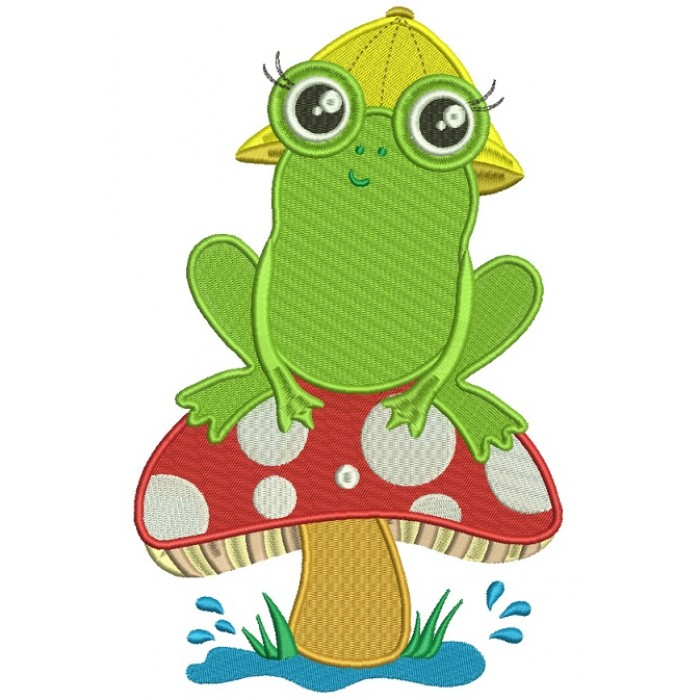 Little Frog on a Mushroom Filled Machine Embroidery Digitized Design Pattern