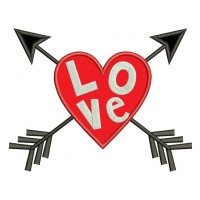 Love Heart With Arrows Applique Machine Embroidery Design Digitized Pattern