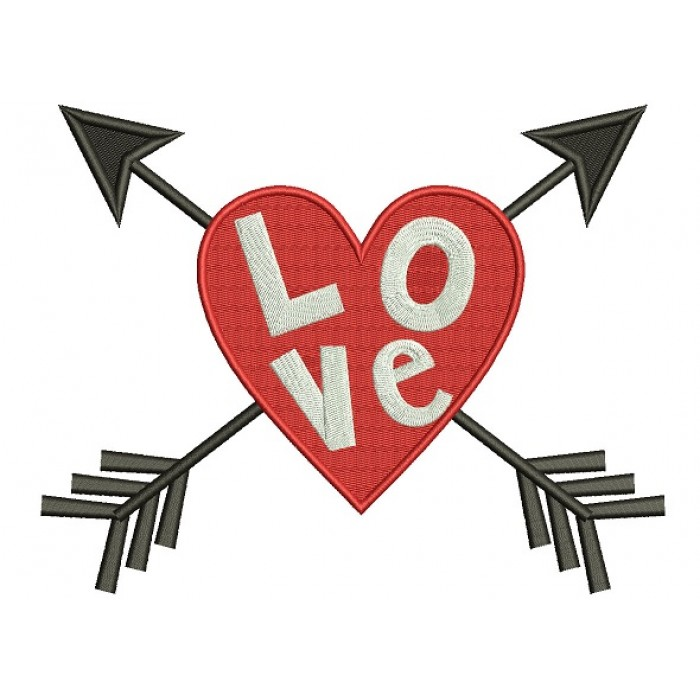 Love Heart With Arrows Filled Machine Embroidery Design Digitized Pattern
