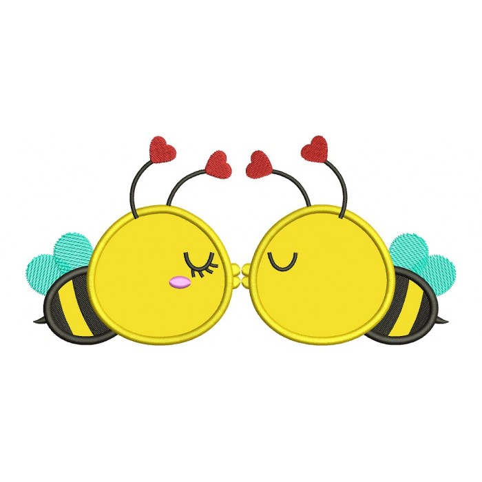 Two Bees Kissing Applique Machine Embroidery Design Digitized Pattern
