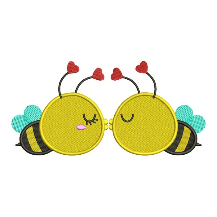 Two Bees Kissing Filled Machine Embroidery Design Digitized Pattern