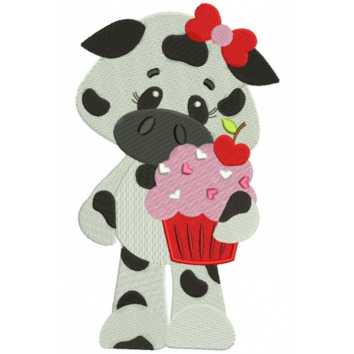 Cute Cow With Ice Cream Filled Machine Embroidery Design Digitized Pattern