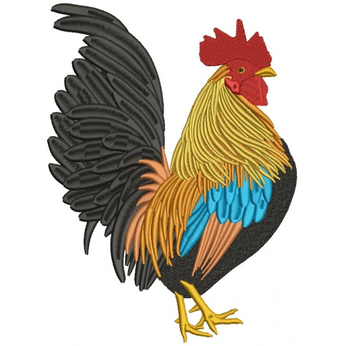 Golden Rooster Filled Machine Embroidery Digitized Design Pattern
