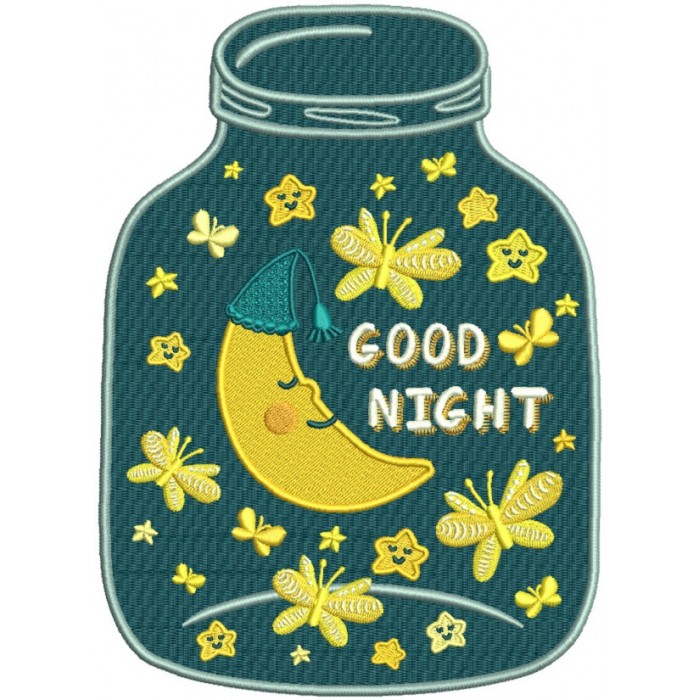 Good Night Mason Jar Filled Machine Embroidery Design Digitized Pattern