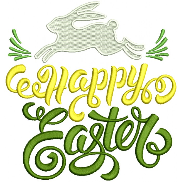 Happy Easter Running Bunny Filled Machine Embroidery Design Digitized Pattern