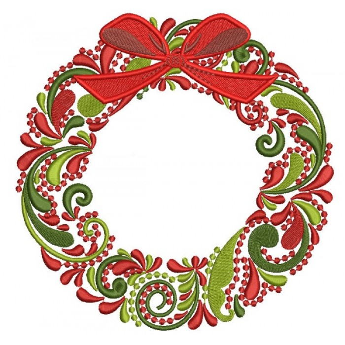 Ornate Christmas Wreath Filled Machine Embroidery Design Digitized Pattern