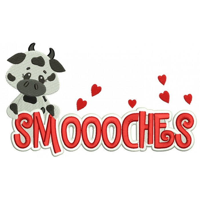Smoooches Cow On the Left Filled Machine Embroidery Design Digitized Pattern