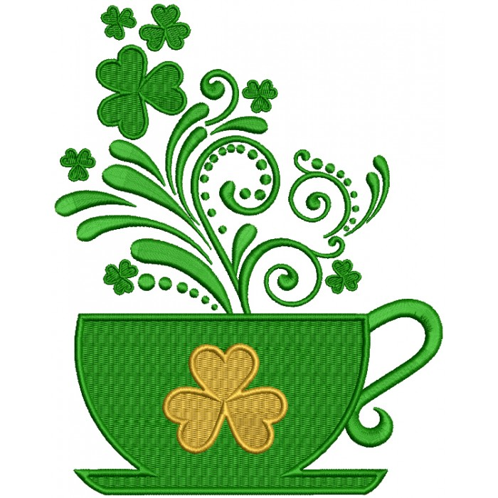 St. Patrick's Cup With Shamrock Filled Machine Embroidery Design Digitized Pattern