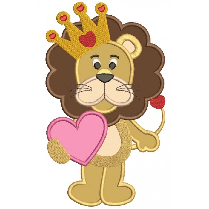 Cute Lion With a Big Heart Applique Machine Embroidery Design Digitized Pattern
