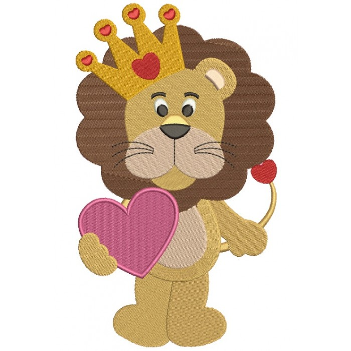 Cute Lion With a Big Heart Filled Machine Embroidery Design Digitized Pattern