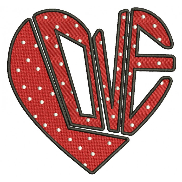 Love Heart Puzzle Filled Machine Embroidery Design Digitized Pattern