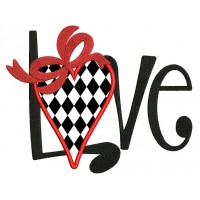 Love Heart With Ribbon Applique Machine Embroidery Design Digitized Pattern