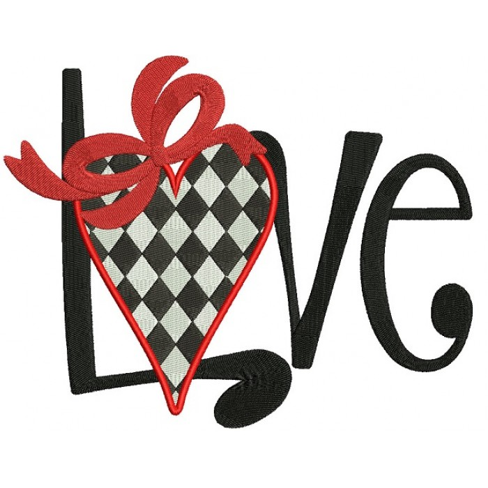 Love Heart With Ribbon Filled Machine Embroidery Design Digitized Pattern