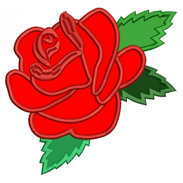 Red Rose Applique Machine Embroidery Design Digitized Pattern