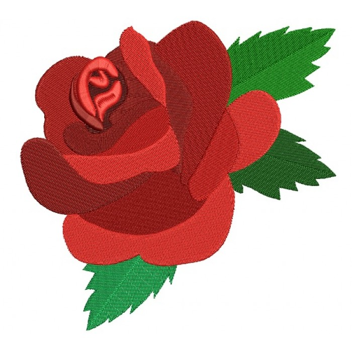 Red Rose Filled Machine Embroidery Design Digitized Pattern