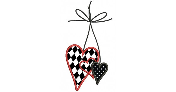 Clip Art Line Of Hearts : Three hearts on a string applique machine embroidery design