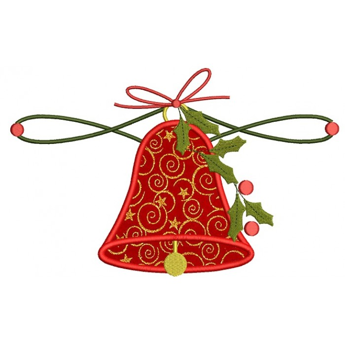 Big Jingle Bell Christmas Applique Machine Embroidery Design