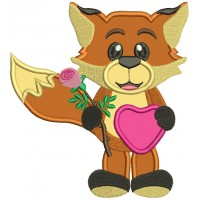 Cute Fox With a Flower And Big Heart Applique Machine Embroidery Design Digitized Pattern