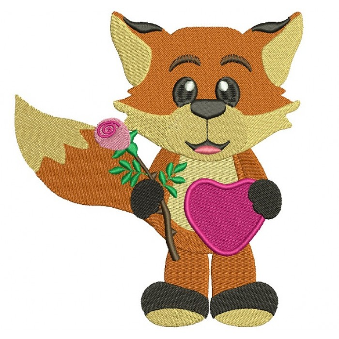 Cute Fox With a Flower And Big Heart Filled Machine Embroidery Design Digitized Pattern