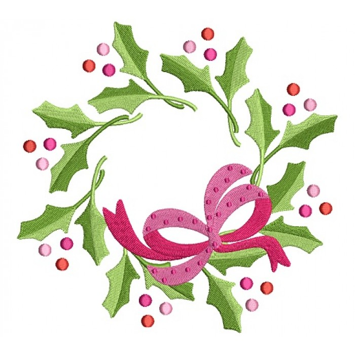 mistletoe christmas filled machine embroidery design digitized pattern - Mistletoe Christmas