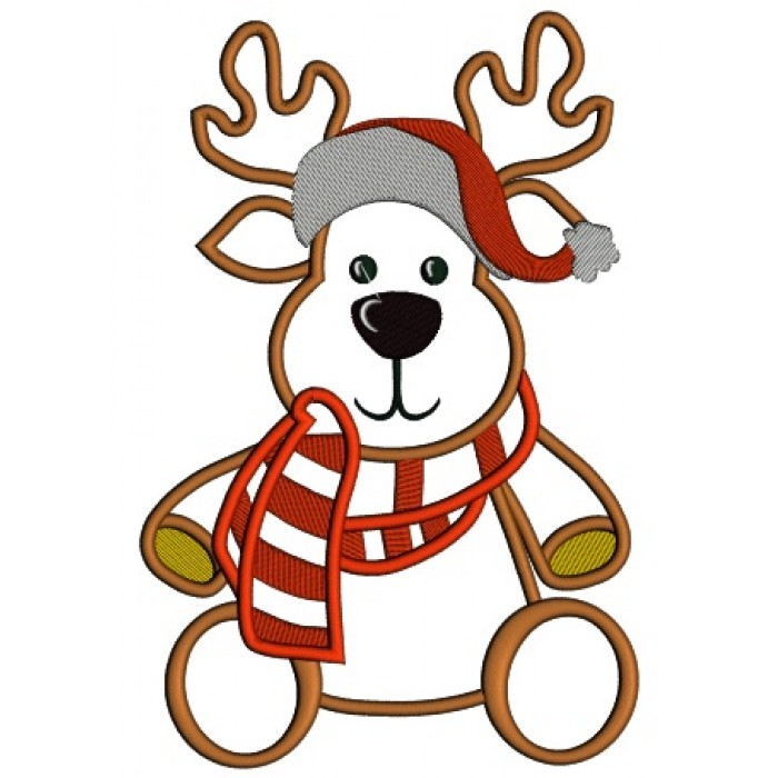 788af0ab63976 Reindeer Wearing Scarf and Christmas Hat Applique Machine Embroidery Design  Digitized Pattern