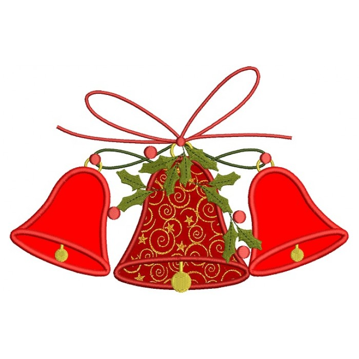 three christmas bells with ribbon applique machine embroidery design digitized pattern