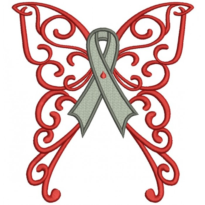 Butterfly Wings Cure Diabetes Ribbon Filled Machine Embroidery Design Digitized Pattern
