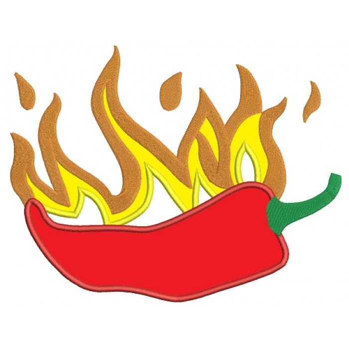Hot Pepper Applique Machine Embroidery Design Digitized Pattern