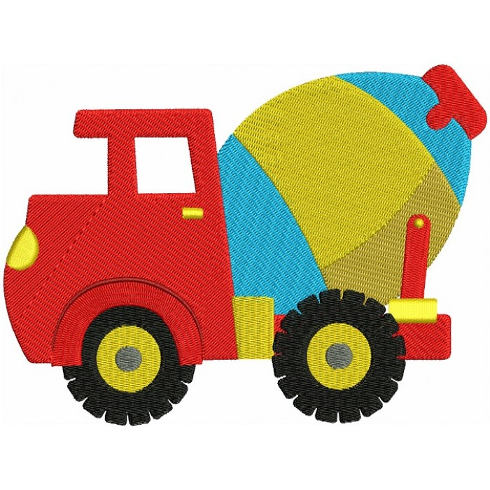 Instant Download Cement truck Machine Embroidery Filled Design