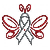Butterfly Cure Diabetes Ribbon Applique Machine Embroidery Design Digitized Pattern