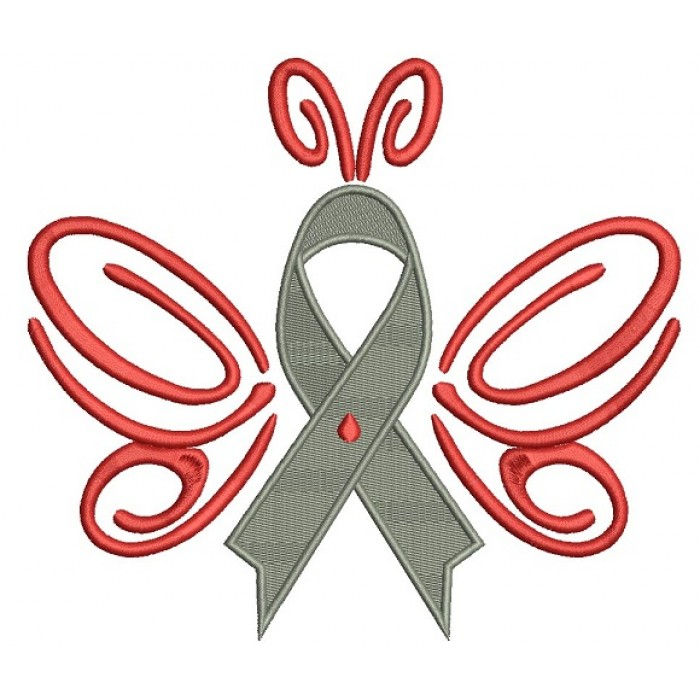 Butterfly Cure Diabetes Ribbon Filled Machine Embroidery Design Digitized Pattern
