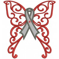Butterfly Wings Cure Diabetes Ribbon Applique Machine Embroidery Design Digitized Pattern