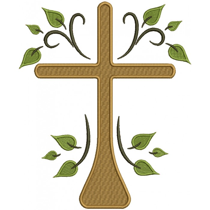 Cross With Leaves Religious Filled Machine Embroidery Design Digitized Pattern