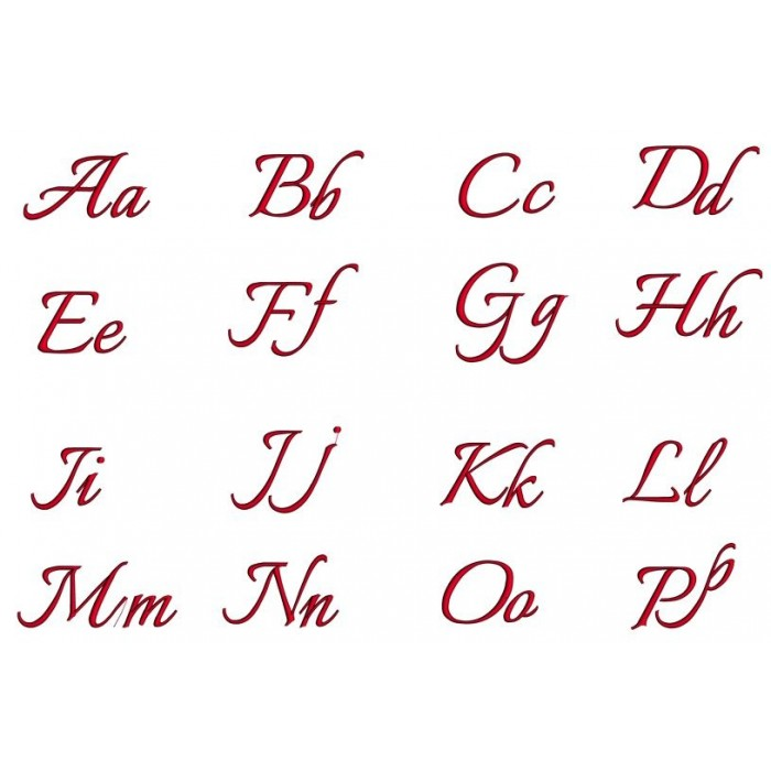 Italian Satin Script Machine Embroidery Font Upper And Lower Case 1 2 3 Inches