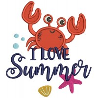 Love Summer Little Cute Crab Applique Machine Embroidery Design Digitized Pattern