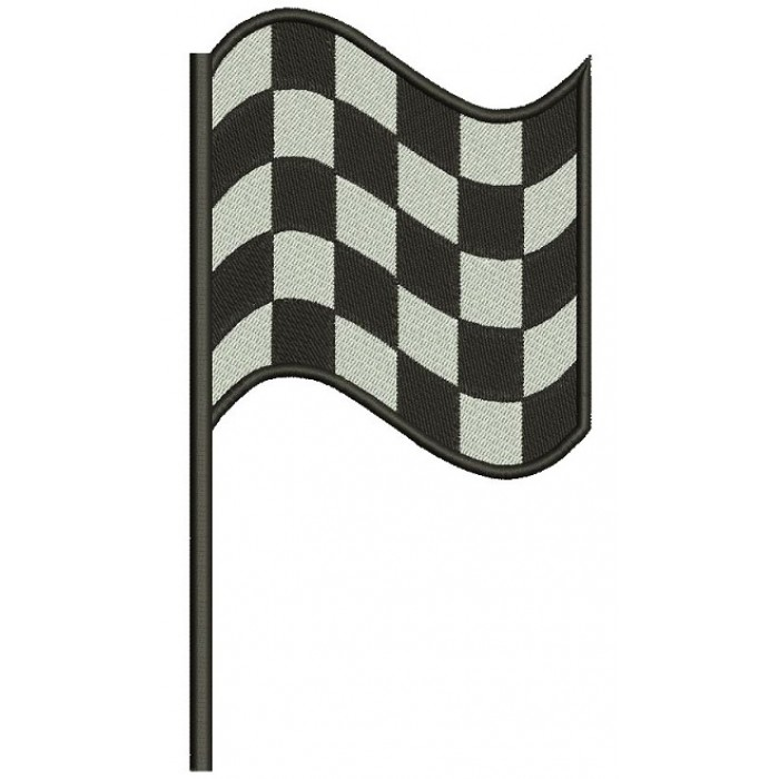 Right Checkered Flag Car Racing Sports Filled Machine Embroidery Design Digitized Pattern